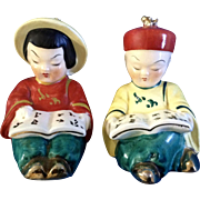 Adorable Asian Boy and Girl Reading Salt & Pepper Shakers Made in Japan Mid-Century Ceramic ..