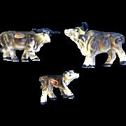 Vintage Bone China Miniature Brown Oxen Made in Japan Animal Figurine Set - NO CHIPS