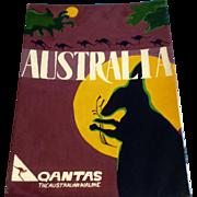 Dana Hildebrand, Australia Qantas Airline Mixed Media Painting on Illustration Board Signed by