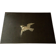 Vintage Embroidered Brown Silk Sparrow Bird Picture behind Clear Plastic Cover