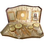 1940's  Peach Vanity Set Lucite 12pc including Richard Hudnut Powder and picture of Hollywoo
