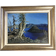 Lauralie Barrett, Oil Painting, Photo Real Wind Scared Pine tree At Crater Lake And View ...