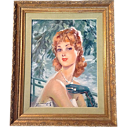 Eugene Leliepvre (1908-2013) Elegant Lady Portrait Oil on Canvas Painting, Signed By Listed ..