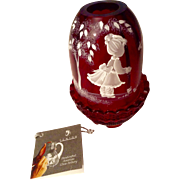 Nancy Fenton Mary Gregory Cranberry Fairy Candle Light  American Glass Hand Painted by Sue ...