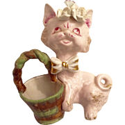 Mid-Century Wales Japan Pink Floral Cat with Basket Porcelain Animal Planter Figurine with Gol