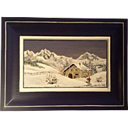 Ski Hut In The Swiss Alps Oil Painting on Wood Panel Signed By Artist