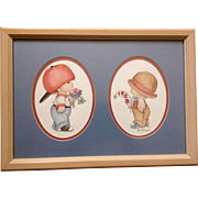 Pam McCallum, Watercolor Painting Boy And Girl In Oversized Hats With Flowers Signed by Artist