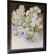 Jeannie Pear (1922- ) Calico Cat Hiding Behind Flowers, Oil Painting On Canvas Signed By Liste