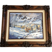 Jenny Smith Dooley, Oil Painting Snowy Mountain Valley in the Early Fall Signed Member of ...