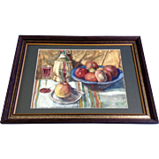 Still Life of a Table With Fruit and Wine, Watercolor Painting Works on Paper