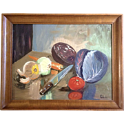 Still Life The Cutting Board Culinary Chef's Knife And Vegetables Oil Painting On Canvas ...