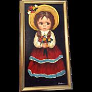 Big Sad Eyes Painting, Child Portrait, Oil on Canvas, Signed By Artist, Vintage