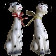 Adorable Dalmatian Dog Salt & Pepper Shakers 1970-1980 Long Neck Ceramic Figurines