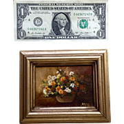 Miniature Oil Painting Still Life Bouquet of Flowers In A Pot, Monogrammed By Artist, MIG