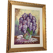 """Jeannie Putman, Acrylic Painting Works on Paper, Original Signed by Artist , Purple """"Lila"""
