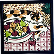 Hand Painted Porcelain Tile, Cat And A Fruit Bowl, Monogrammed By Artist