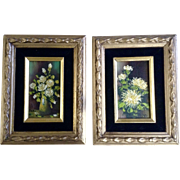 Teri, Floral Still Life Small Oil Paintings On Board Matching Set Signed
