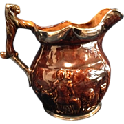 Earthenware Pitcher Brown and Silver Embossed English Jug Pitcher with Lion Head Thumb Rest -