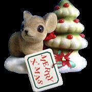 Josef Originals Fuzzy Mouse and Christmas Tree Japan Vintage Figurine Original Tag and Foil ..