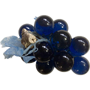 Vintage Blue Colored Grape Cluster with Plastic Blue Leaves on Driftwood Mid Century Acrylic .