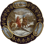 Sevres France Hand Painted Porcelain Cabinet Plate Signed By Artist Moreau, Louis XIII Militar