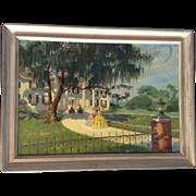 SOLD Original Signed Southern Belle Estate Plantation Oil Painting on Canvas.