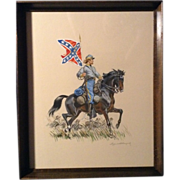 Original Eugene Leliepvre (1908-2013) Watercolor and Gouache Enhanced Print Painting Signed, .