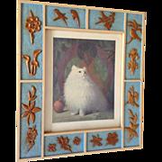 Margaret McDonald Phillips Queen of Persia, Persian Cat Art Print in Hand Made Frame