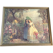 REDUCED LARGE Louis. Jambor, Victorian Ladies Walking in a Garden with Parasol's Vintage Print