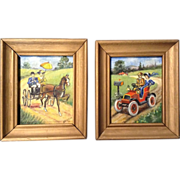 Newlin, Automobile, Horse and Buggy Parasol Woman, Pair of Small Original Acrylic Paintings on