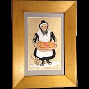 James MacKellar Waldron (1909-1974), Hand Colored Stone Etching, Folk Art Painting of Amish ..