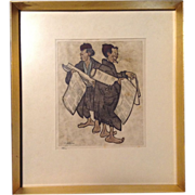 Hans Kleiss  (1901-1973), Works on Paper Woodcut Print Hand Colored Etching Painting Signed by