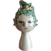 "REDUCED Bjorn Wiinblad Titania Head Vase Figural Denmark Own Studio 7-1/2"" Vase OOAK ..."