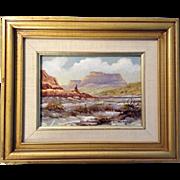 SOLD Listed Artist Burl Chalmers Original Oil Painting on Board, 1960's California Desert Scen
