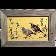 Wilbs Painting California Quail, Signed by Artist, Barnwood Frame, Verre églomisé, ...