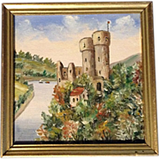 SOLD Small Oil on Board of Ehrenfels Castle Above the Rhine River With Steam Boat and Barge on