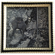 SOLD Hand Made Original Tramp Art Painting and Frame, 2 Deer in the Woods Old 1890's Oil on Ar