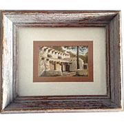J. Smale, Watercolor Painting Miniature Postage Stamp Size Original Works on Paper Hacienda ..