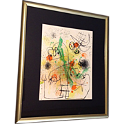 "Joan Miro ""Derriere le Miroir"" Lithograph Color Litho, Original Large Edition  18-50"