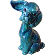 Norleans Figurine Dog Adorable Vivid Green with Swirls of Blue Ceramic Beagle Puppy Japan