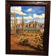 King Pao Oil Painting New Mexico Desert with Saguaro Cactus and Mountains, Southwest Arizona,