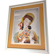Michel BP Watercolor Painting Lady in Sun Hat with Bouquet Portrait, 1951 Airbrush Works on ..