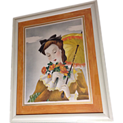 Michel BP Watercolor Painting Lady with Bouquet and Parasol Portrait, 1951 Airbrush Works on .