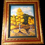 Elizabeth Kwaak Smischny (1936-1984) Golden Aspen Trees in Red and Gold Frame, Signed Listed .