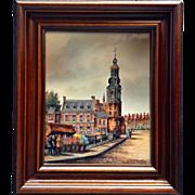 Francken, Dutch Street Scene, Painting on Porcelain Tile, Munttoren Cathedral in Amsterdam, ..