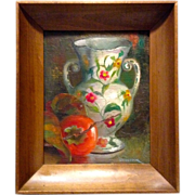 Vivian Cook, Still Life of Persimmon and White Floral Vase, In Colonial Frame, Original Oil ..