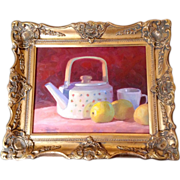 Dan Robinson, Tea Pot With Lemons, Original Still Life Oil Painting On Board By Listed ...