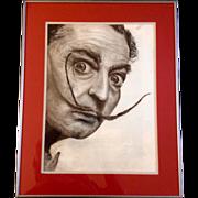 SOLD Salvador Dali Mustache Study Portrait Original Charcoal, Pastel Drawing by Artist Thomas