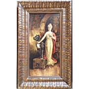 Louise Thompson, Painting Woman Holding A Key With Great Dane, Oil on Canvas Board Signed ...