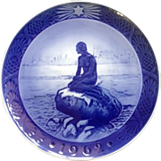 Royal Copenhagen Christmas Plate Little Mermaid At Wintertime 1962